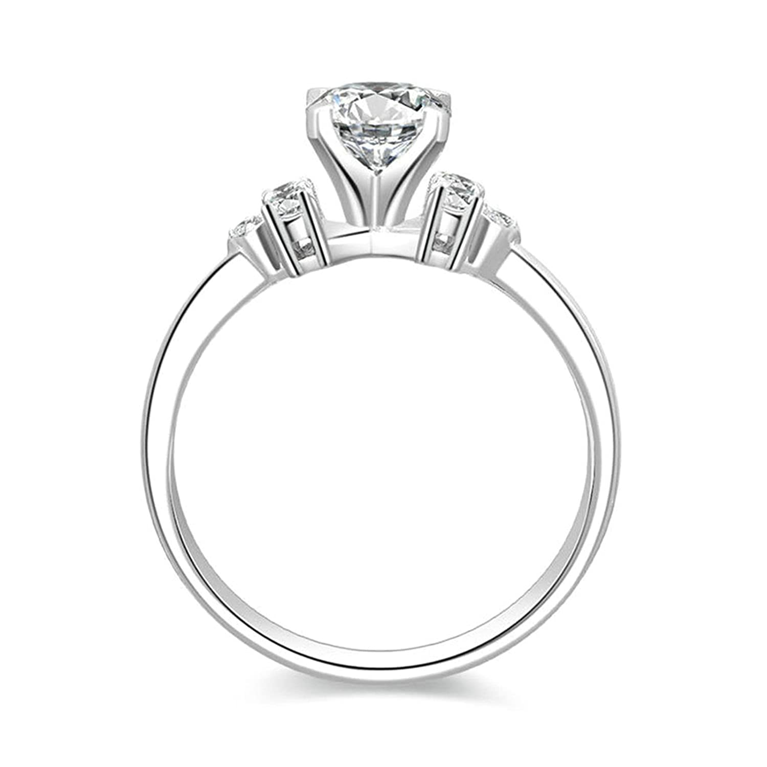 Aokarry Ladies Jewelry 925 Sterling Silver Promise Ring Customize 4-Prong Setting Round White CZ Size 5-12