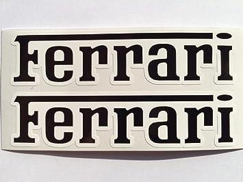 Amazon Com 2 Ferrari Name Black On White Die Cut Decals Automotive