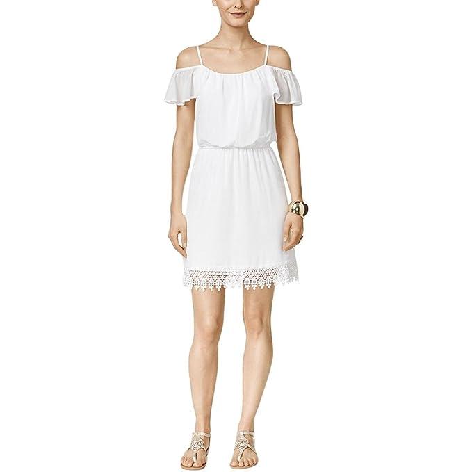 8dd16aaba61 Thalia Sodi Lace Off-The-Shoulder Blouson Dress at Amazon Women s Clothing  store