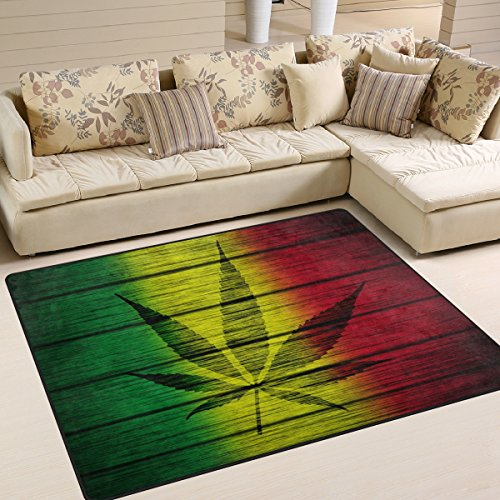 ALAZA Cannabis Marijuana Leaves Vintage Area Rug Rugs for Living Room Bedroom 5'3″x4′