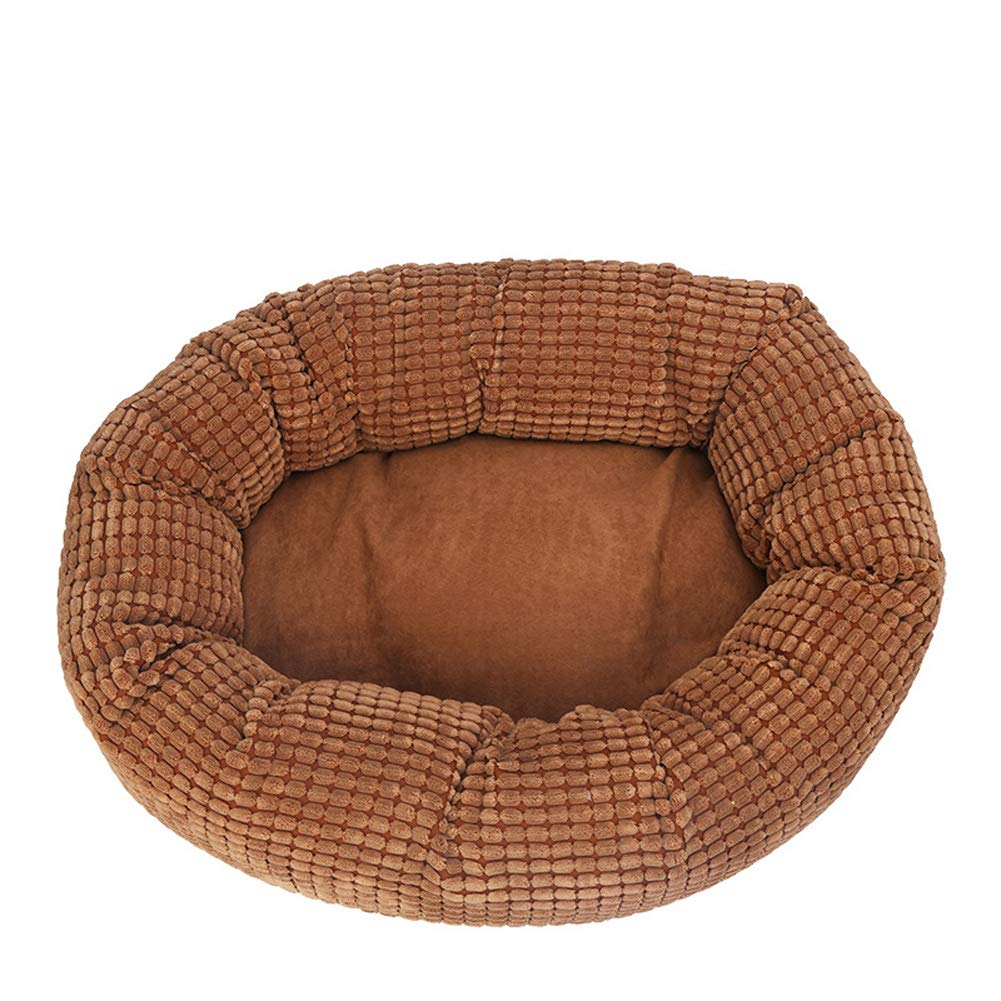 Brown 5050cm Brown 5050cm Pet Bed, Round Kennel cat Litter pad, Four Seasons Warm pet nest (50  50 cm),Brown,50  50cm