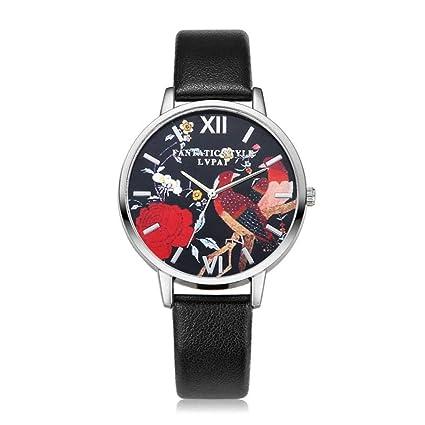 naivety Fashion Women Watches Rose Flower Slim Leather Quartz Wrist Watch Casual Clock Ladies Dress Gift