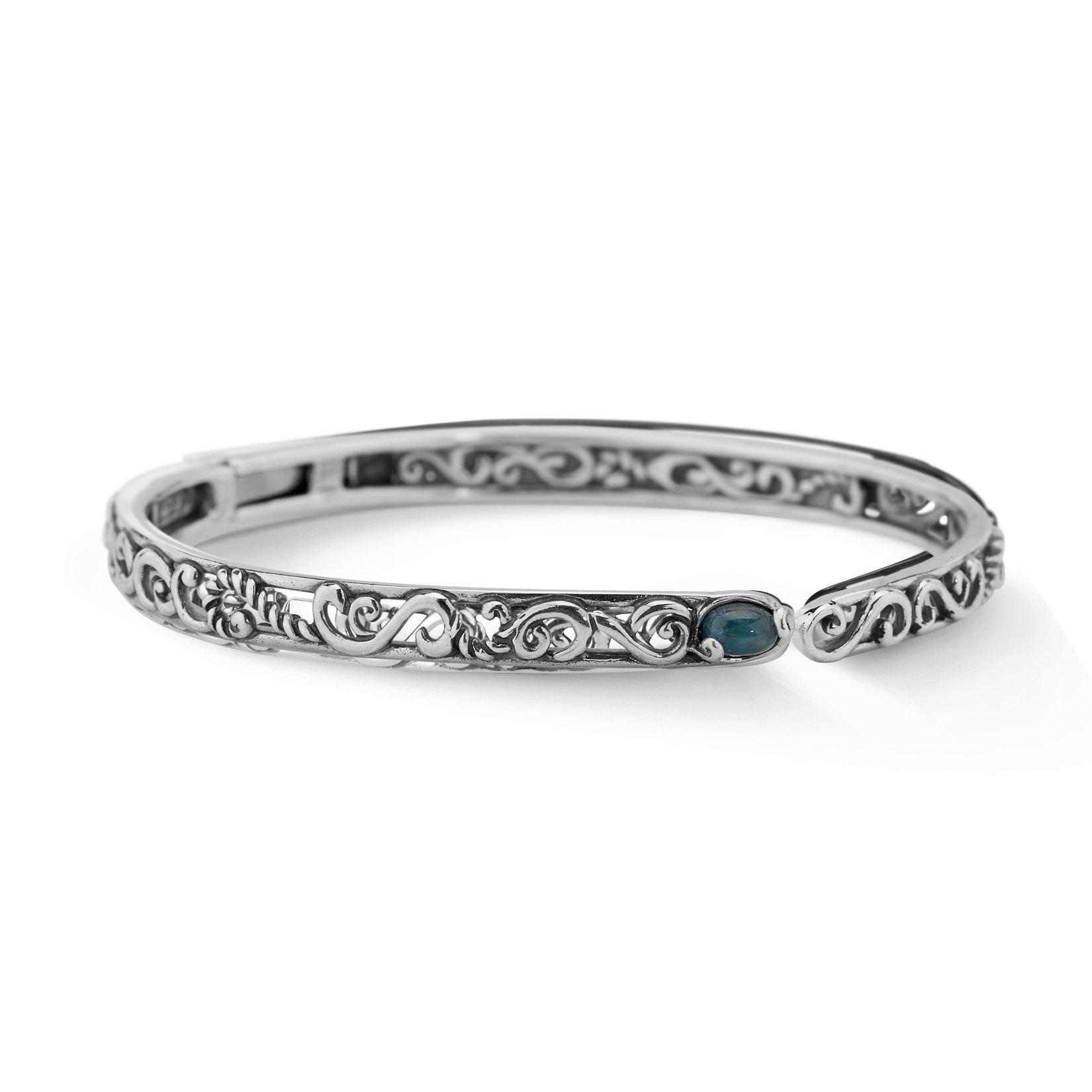Carolyn Pollack Genuine .925 Sterling Silver Blue Apatite Hinged Cuff Bracelet