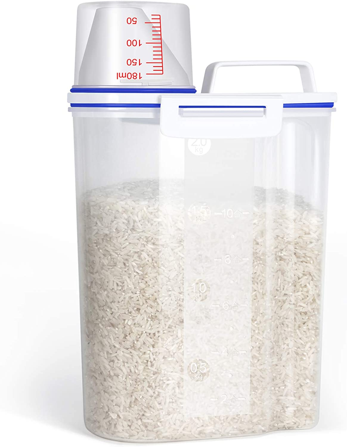 TBMax Rice Storage Container - 4 Lbs Airtight Cereal Dispenser with Measuring Cup - Food Container for for Flour, Dry Food, Kitchen Pantry Organization