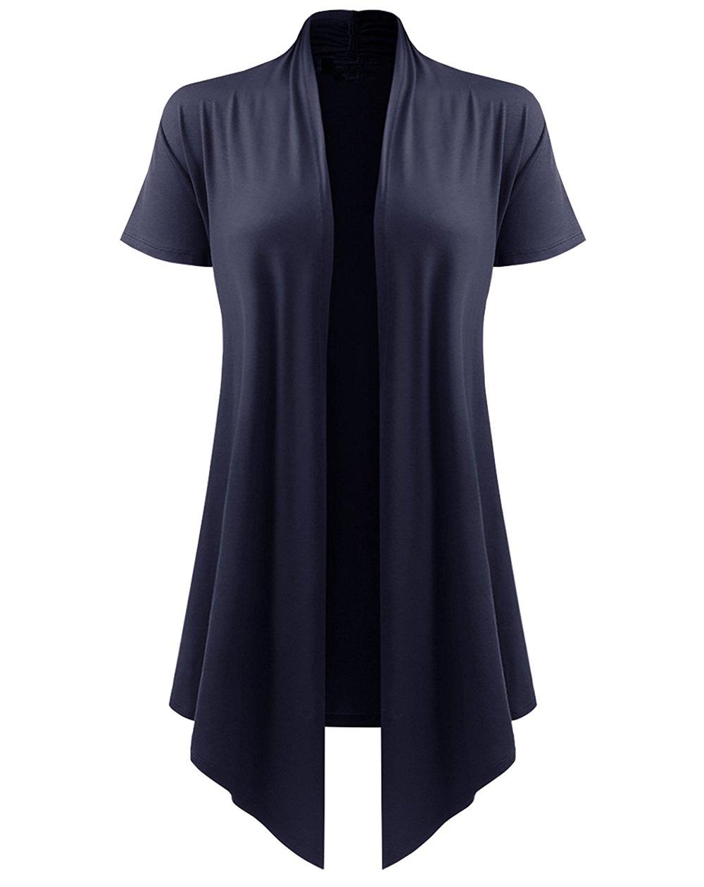 Dutebare Womens Short Sleeve Open Front Cardigan Drape Hem Lightweight Cardigans Navy Blue 2XL