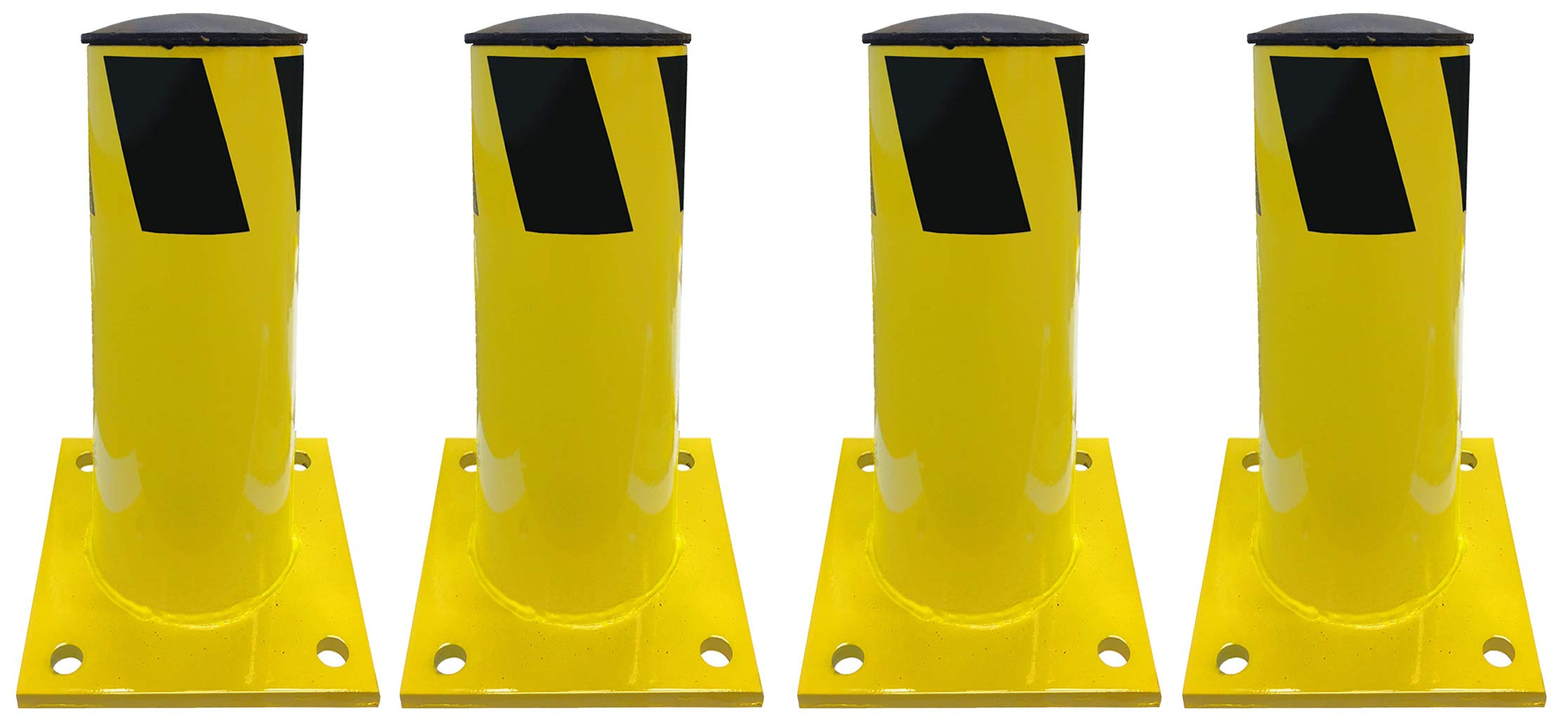 Electriduct 1 Foot Steel Pipe Safety Bollard Post Yellow/Black Stripe - Parking Lot Traffic Barrier (12'' Height - 4.5'' OD) - Pack of 4