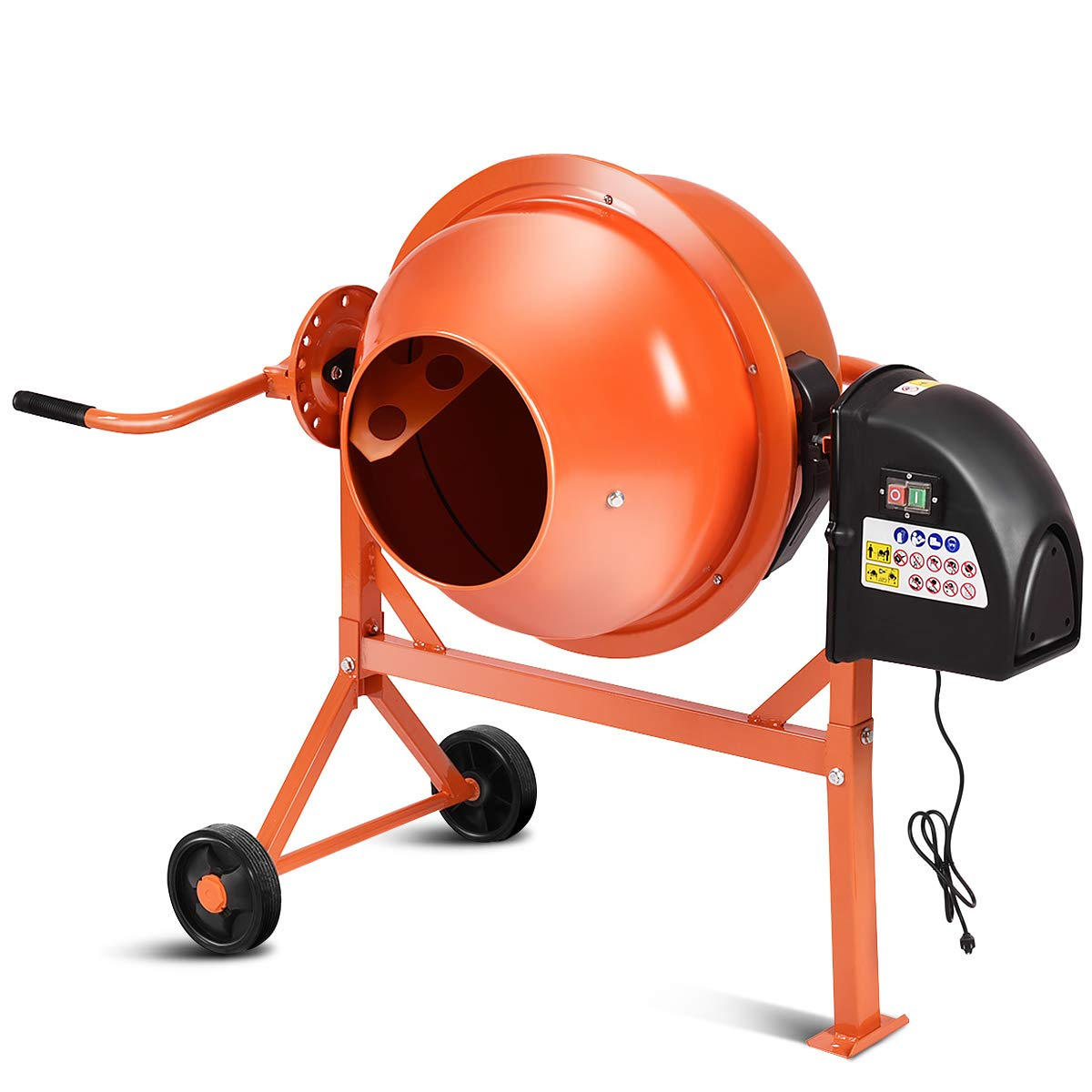 Goplus Electric Cement Concrete Mixer 1/2HP 2.2 Cubic Ft Barrow Machine for Mixing Mortar, Stucco and Seeds by Goplus