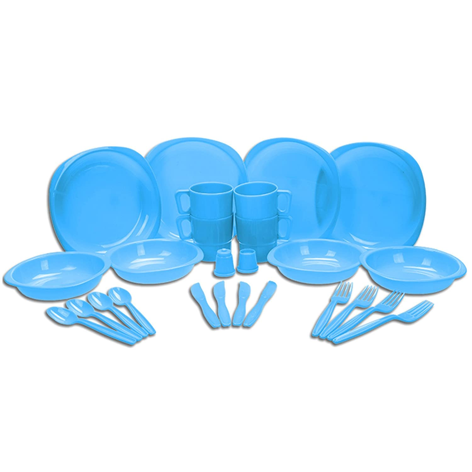 Choice of Blue or Green 26 Piece Plastic Picnic / BBQ / Festival / Camping / Party Set Including Plates, Bowls, Mugs, Knives, Forks, Spoons, Salt and Pepper Shaker (Blue) UKHobbyStore