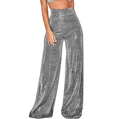 7b418c0ed46a94 Women's Glitter Sequin High Waist Long Wide Leg Palazzo Pants Trousers  Party Clubwear Black