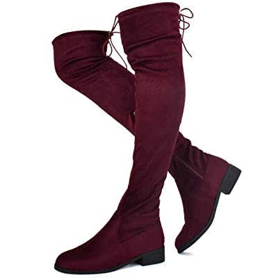 Prime Shoes - Women's Fashion Comfy Vegan Suede Block Heel Side Zipper Back Lace Thigh High Over The Knee Boots | Over-the-Knee