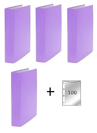 grün 2-Ring Ordner 4x Ringbuch 100 Prospekthüllen DIN A5 Farbe