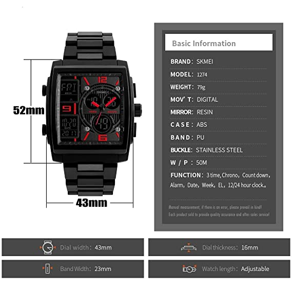 Amazon.com: Mens Digital Sports Watch, Outdoor Military Watches LED Electronic Display Back Light Alarm Stopwatch Waterproof Casual Square Dial Three Time ...