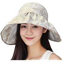 JIAHG 女式大边遮阳帽,适合高尔夫、网球、小贩、夏季、户外、旅行、沙滩,UPF 50+ 的女孩蕾丝碎花可折叠空顶帽