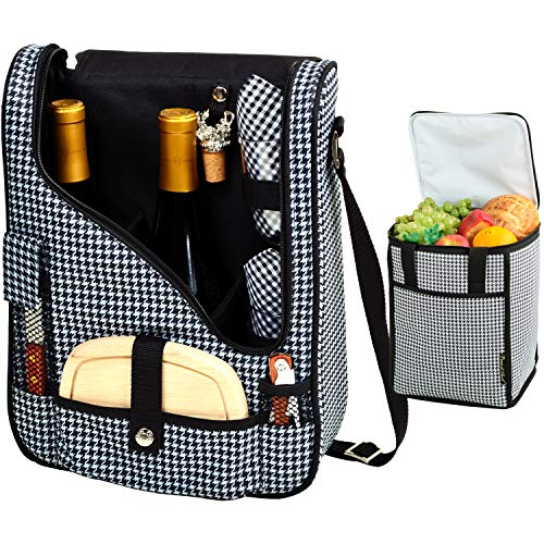 Picnic at Ascot Original Wine and Cheese Tote for 2 with Matching Cooler - Designed & Assembled in California - Houndstooth