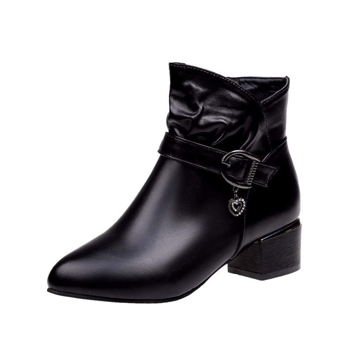 LBTSQ Damenschuhe Gürtel Schuhe Heel 4Cm Einfache 100 Sätze Mode Flachem Absatz Runden Kopf Stiefel