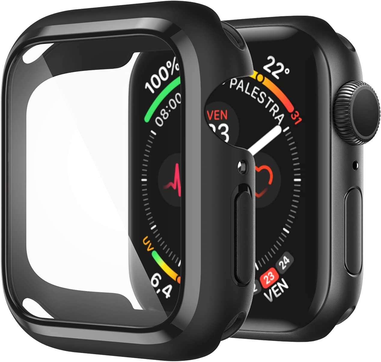 AVIDDA Compatible Apple Watch Case 42mm Built-in Tempered Glass Screen Protector, Soft TPU Ultra-Thin Bumper Full Cover Protective Case for iWatch Series 3/2/1 42mm Black