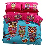 Cliab Owl Bedding Full Duvet Cover Set Size 4 Pieces 100% Cotton