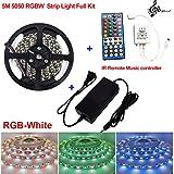 Firstsd 5M 16.4ft SMD 5050 RGBW RGBWW LED Strip Light Tape + Music Remote Controller +12V Power (RGBW(RGB+white) strip Full Kit, Non-waterproof strip)