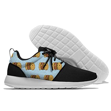 Men's Running Double-decker Burger Shoes Fashion Breathable Sneakers Mesh Soft Sole Casual Athletic Lightweight