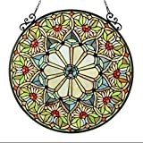 Stained Glass Lighting Floral Window Panel 23.4'' Diameter Handcrafted