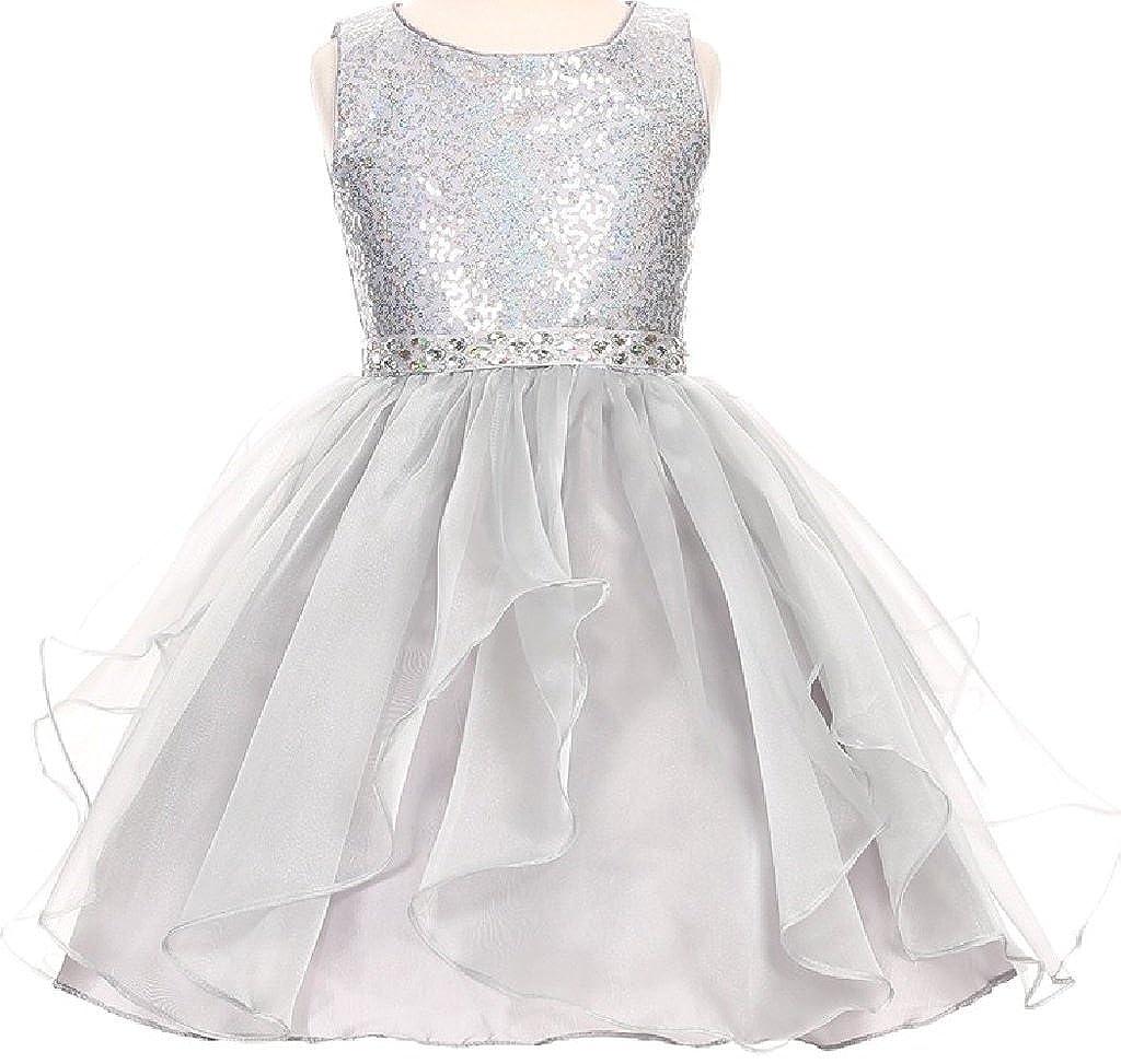 932d3a005 Amazon.com: BluNight Collection Little Girls Sparkling Sequin Organza Short Flower  Girls Dresses: Clothing