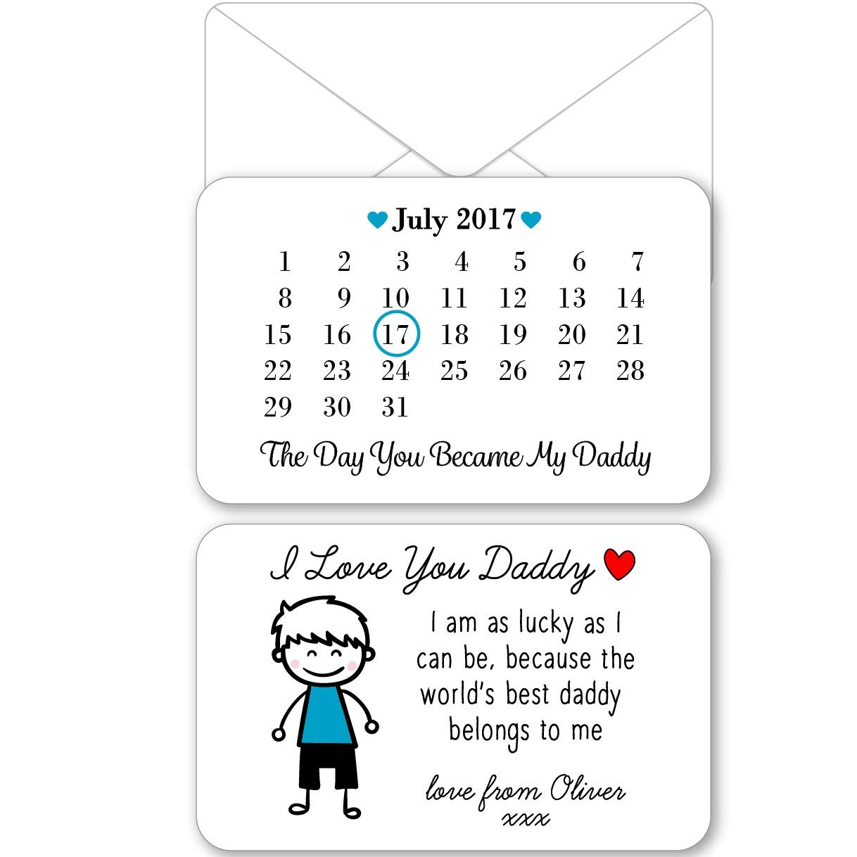 from Boy Metal Wallet Card Personalised Sentimental Keepsake Double Sided Day You Became My Daddy