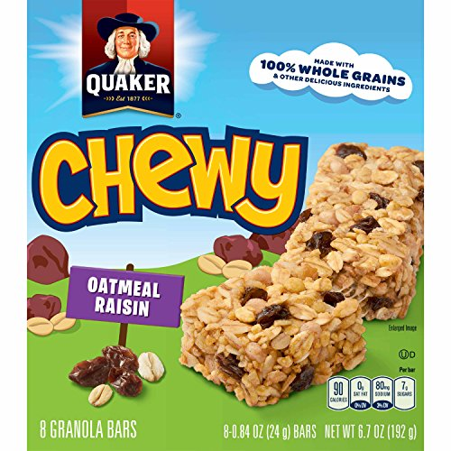 Quaker Chewy Granola Bars, Oatmeal Raisin, 90 Calories, Low Fat.84 oz 8 count (Pack of 6) (Packaging may vary) Quaker Raisins