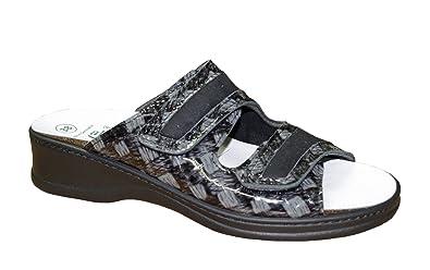 Algemare Damen Pantolette Schwarz Grau Leder Wechselfußbett Größe 38 bis 42, Damen Größen:39, Farben:Schwarz