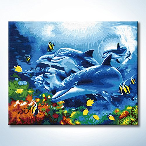 Diy Oil Paintings Paint By Numbers Kits Dolphin Seaworld Paintworks Diy By Yourself