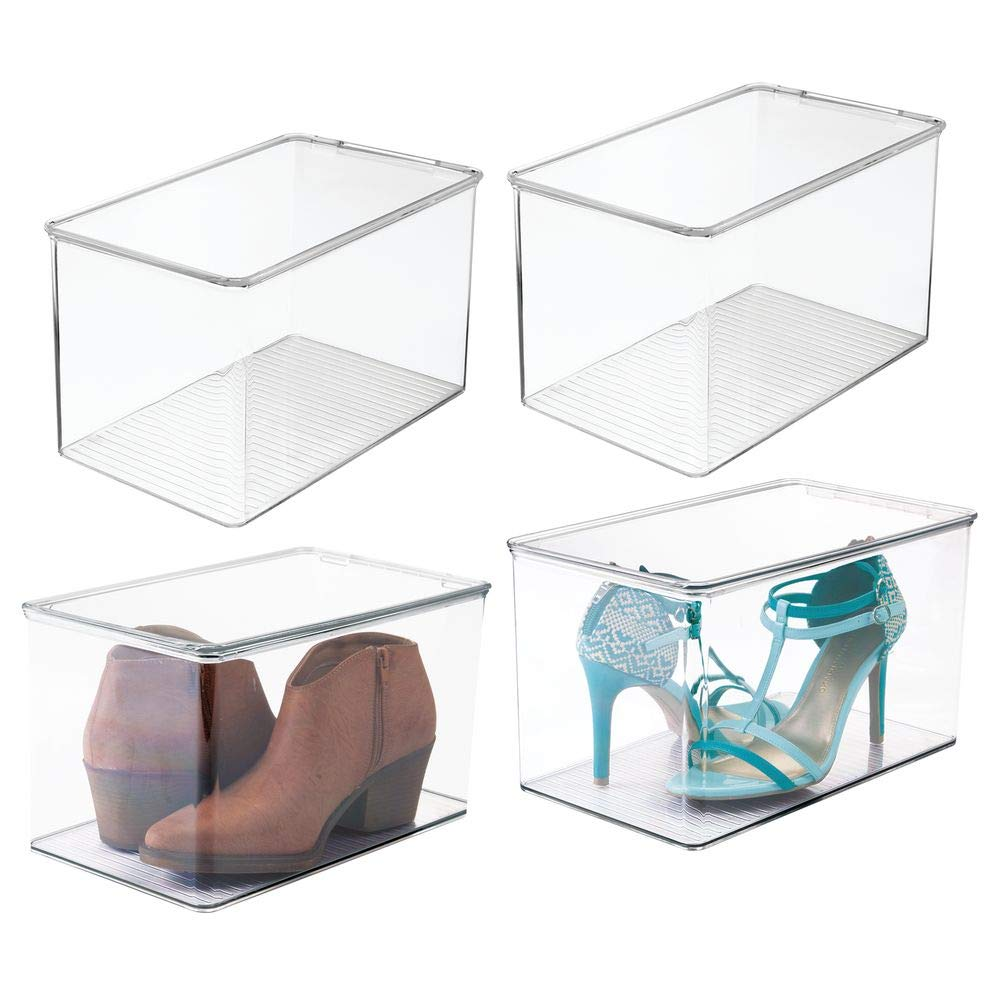 Pumps Booties Wedges Clear Heels and Accessories Container for Organizing Mens and Womens Shoes Flats mDesign Stackable Closet Plastic Storage Bin Box with Lid Sandals 7 High 4 Pack