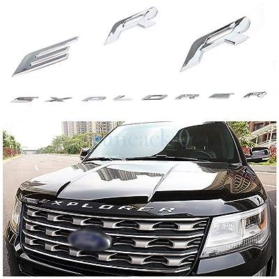 ABS Hood Emblem Letters Fit for Ford Explorer 2011-2020 Front Hood Emblem Letters Badge Decal, Matte Silver: Automotive