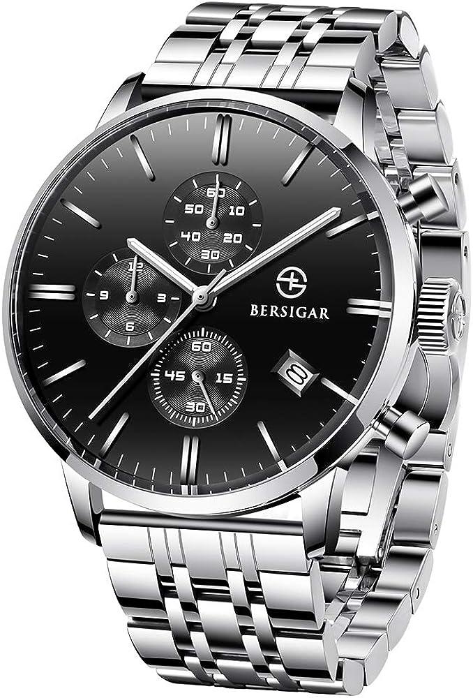 Reloj Cronógrafo para Hombre Pagani Design - Reloj De Cuarzo Impermeable con Correas De Acero Inoxidable - Reloj Deportivo Multifuncional con Vidrio Resistente a Los