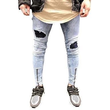 Pantalones Vaqueros Slim Fit Pantalones Destruidos Skinny ...
