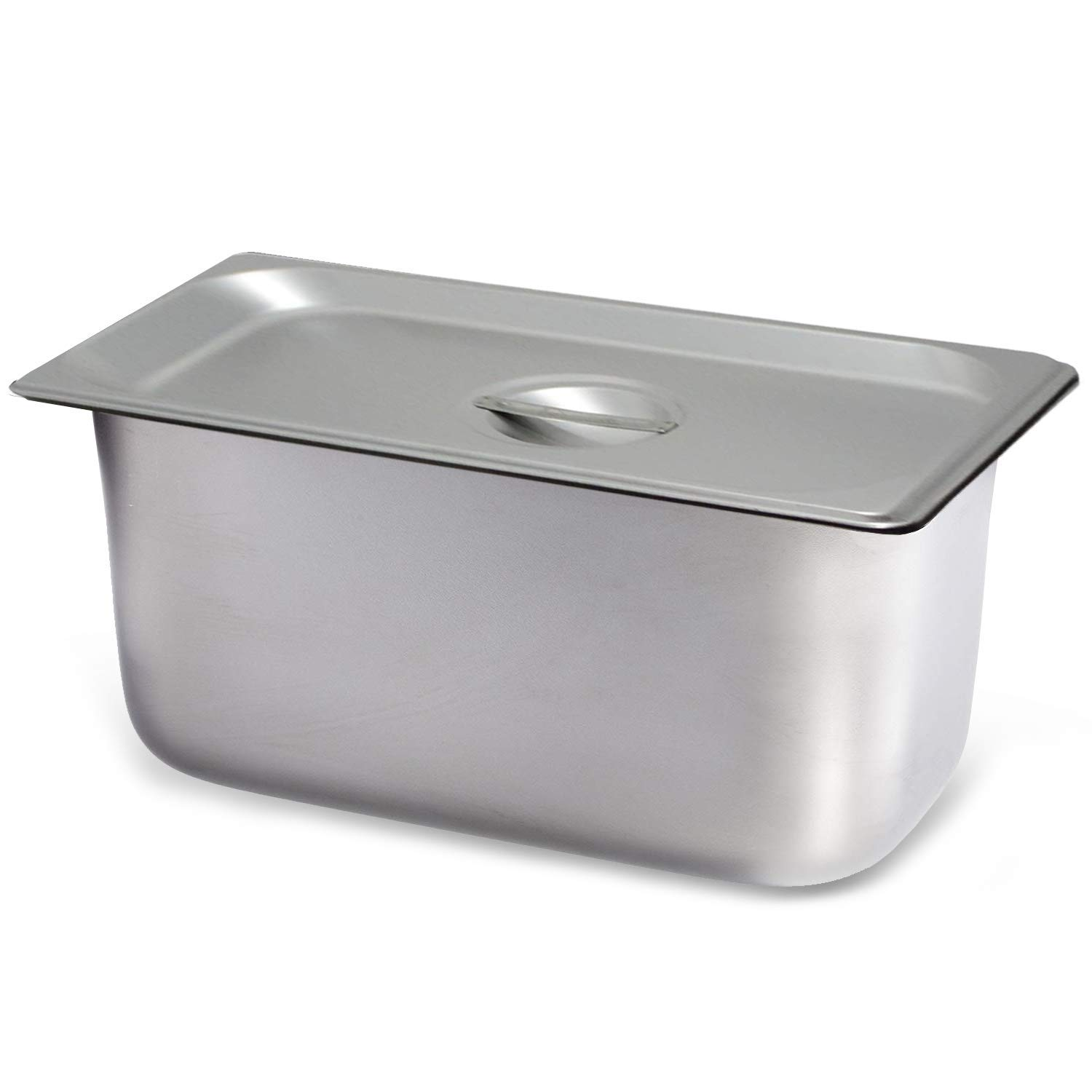 "Steam Table Pan Third Size with Cover, Hotel Pan is 6"" Deep, Made from 25 Gauge Stainless Steel, NSF Listed."