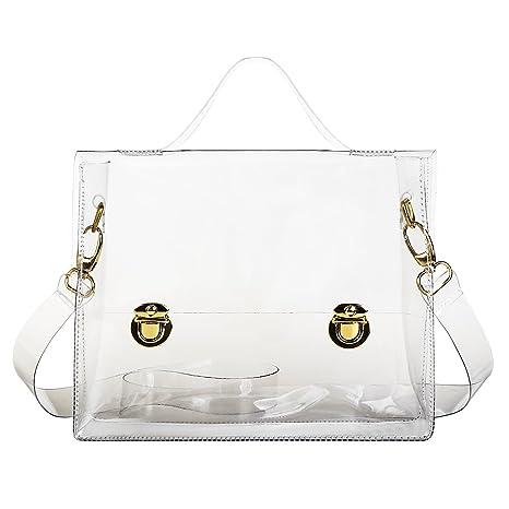 720dfc293f01 xhorizon TM FL1 Clear PVC Transparent Messenger Handbag Tote Shoulder Bag