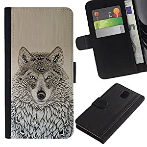 KingStore / Leather Etui en cuir / Samsung Galaxy Note 3 III / Motif américaine dessin noir