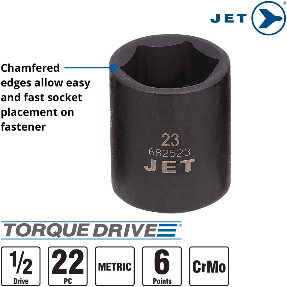 610339 Jet 1//2-inch Drive 6 Point 22-Piece Regular Metric Professional Impact Socket Set