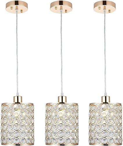 Cuaulans 3 Pack Modern Gold Crystal Ceiling Pendant Lighting, Adjustable Pendant Light for Kitchen Dinning Room Bedroom