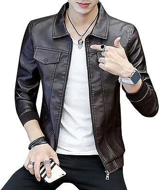 Oberora Mens Fashion Lapel Zip Up Slim Faux Leather Moto Jacket Coat