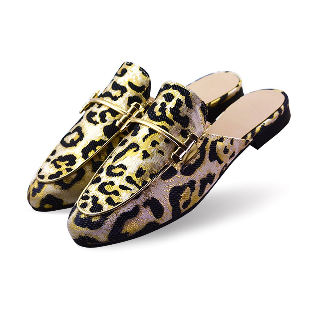 Girl's Outdoor Leopard Slippers with Metal Chains on The Cloth Upper Floral Black 6 M US(FBA)