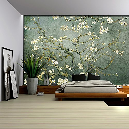 Teal Almond Blossom by Vincent Van Gogh Wall Mural