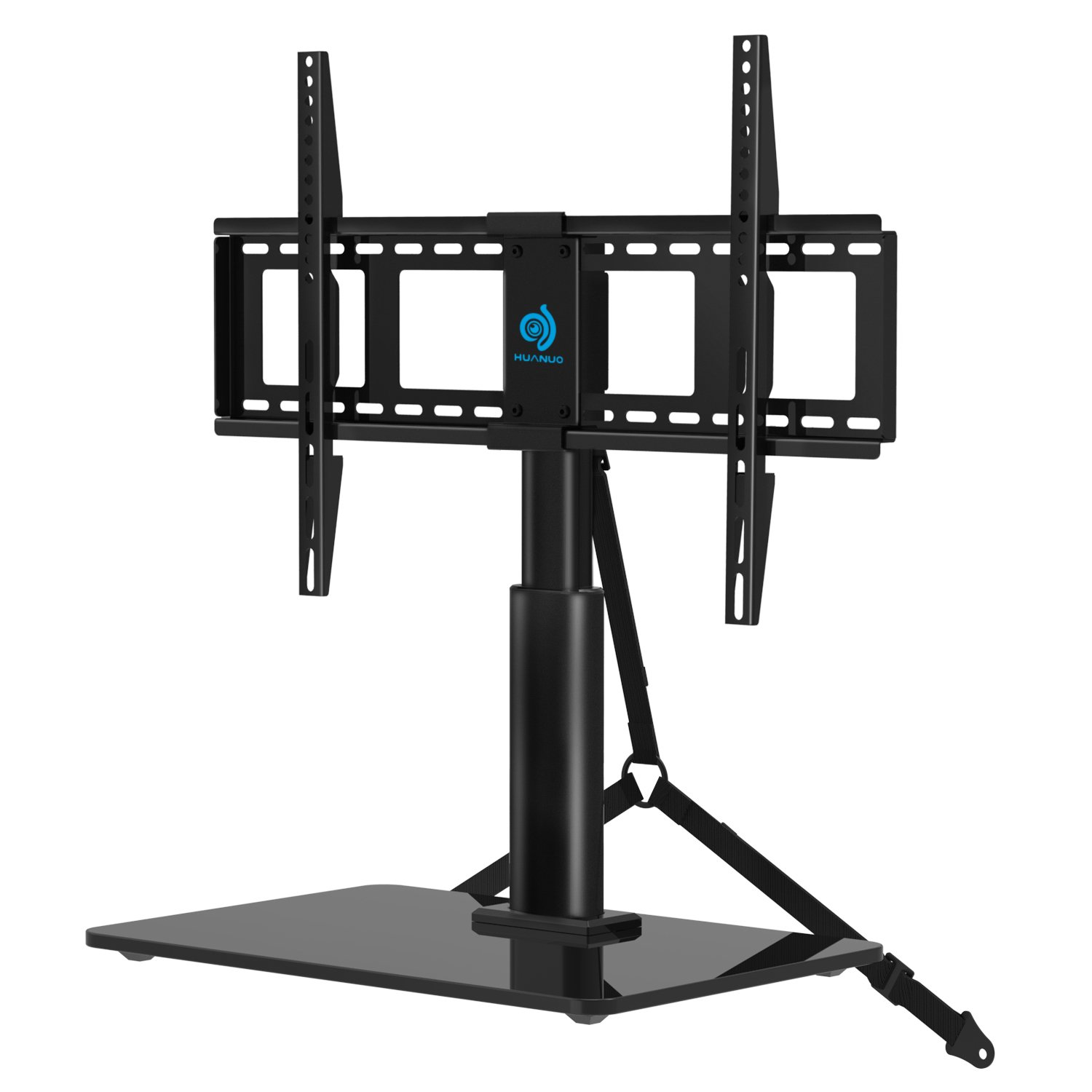 HUANUO HN-TVS03 Universal Adjustable Table Top TV Stands for 32 to 60 Inch Televisions with 70 Degree Swivel & 4 Level Height Alignment, Tempered Glass Base, Anti-Tip Safety Strap, Black