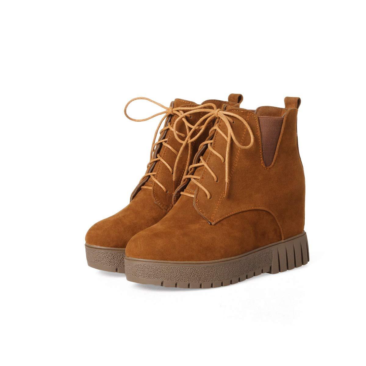 DANDANJIE Frauen Stiefel Damen High Heel Martin Stiefel Wedge Heel Lace-Schuhe Buckle-Strap Ankle Stiefel