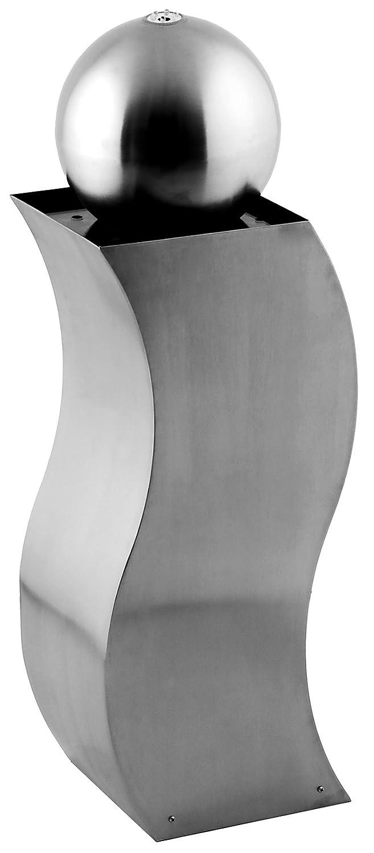 Exklusiv S-Form Sockelbrunnen FONTANA SERPENTE mit integrierter multicolor LED in Kugel aus hochwertig gebürsteten Edelstahl 30x22x74cm L/B/H
