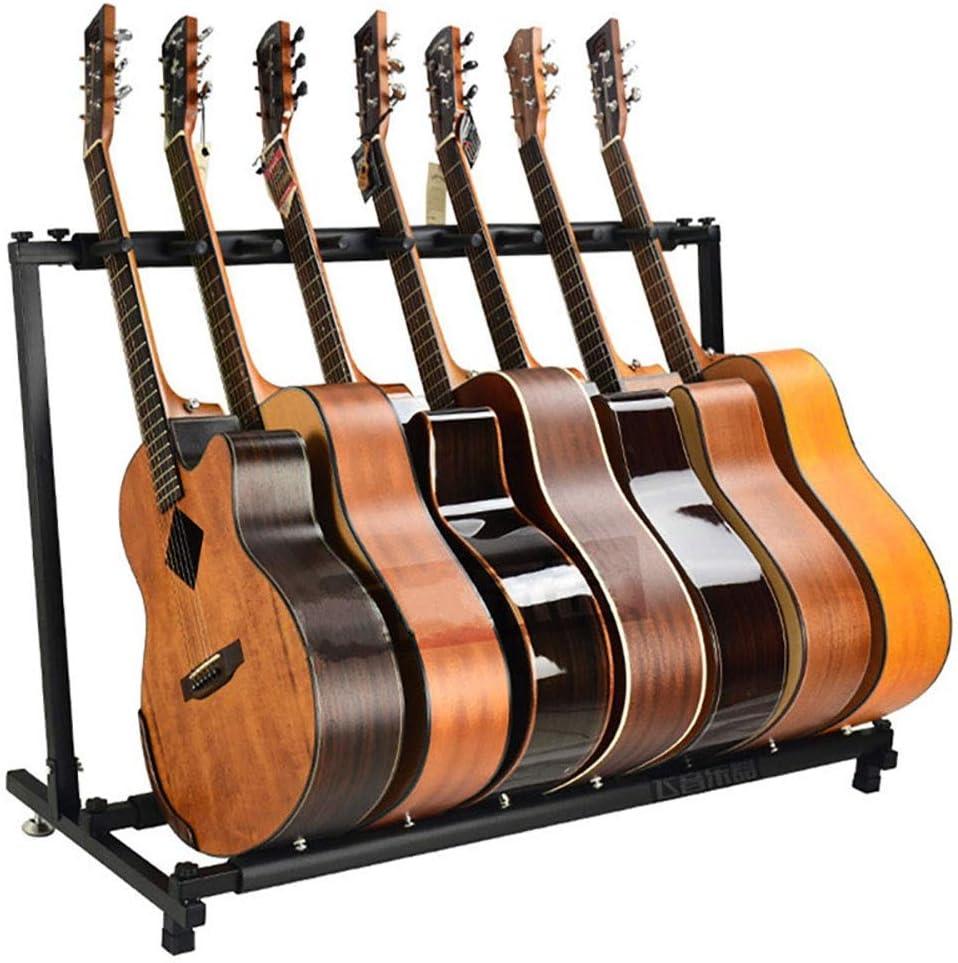 Los Titulares de Guitarra Stands Guitarra múltiples sostenedor del soporte de estante tiene capacidad for hasta 7 eléctrica o acústica Guitarra Bajo Ideal for Música Estudios de grabación, Escuelas, E
