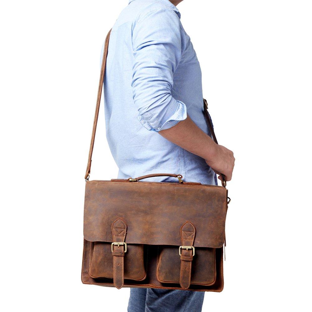 Kattee Full Grain Leather Vintage Briefcase Messenger Bag Coffee