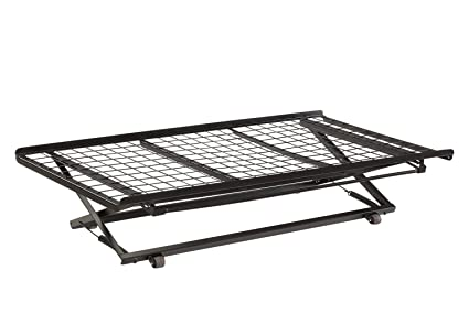 Amazoncom Twin Pop Up Trundle Bed On Rollers Black Kitchen Dining