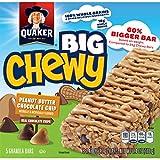 Quaker Big Chewy Granola Bars, Peanut Butter Chocolate Chip, 5 Bars