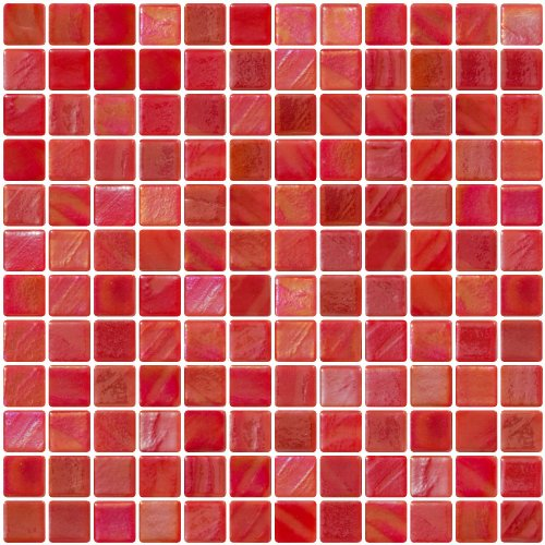 Susan Jablon Mosaics - 1 Inch Red Iridescent Recycled Glass Tile