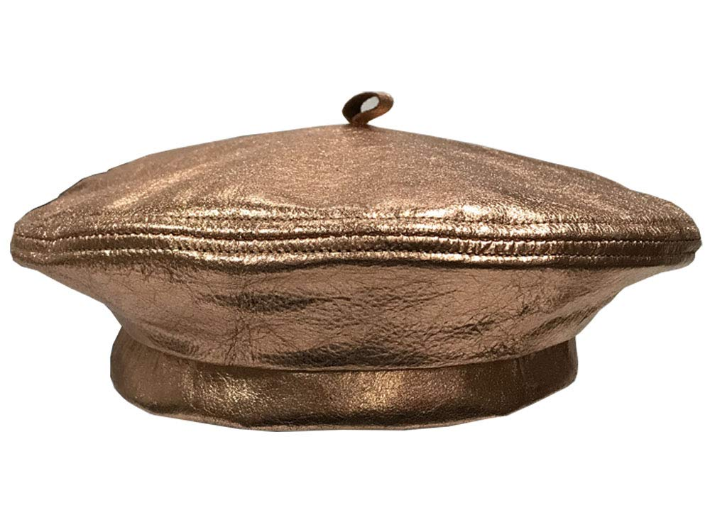 Emstate Winner Caps Unisex Cowhide Leather Beret Made in USA (Metallic Copper Bronze)